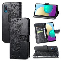 Embossing Mandala Flower Butterfly Leather Wallet Case for Samsung Galaxy A02 - Black