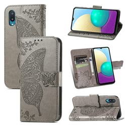 Embossing Mandala Flower Butterfly Leather Wallet Case for Samsung Galaxy A02 - Gray