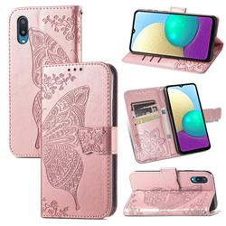 Embossing Mandala Flower Butterfly Leather Wallet Case for Samsung Galaxy A02 - Rose Gold