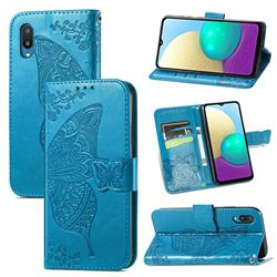 Embossing Mandala Flower Butterfly Leather Wallet Case for Samsung Galaxy A02 - Blue