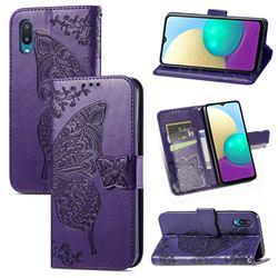 Embossing Mandala Flower Butterfly Leather Wallet Case for Samsung Galaxy A02 - Dark Purple