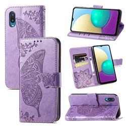 Embossing Mandala Flower Butterfly Leather Wallet Case for Samsung Galaxy A02 - Light Purple