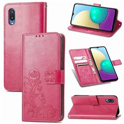 Embossing Imprint Four-Leaf Clover Leather Wallet Case for Samsung Galaxy A02 - Rose Red