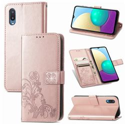 Embossing Imprint Four-Leaf Clover Leather Wallet Case for Samsung Galaxy A02 - Rose Gold