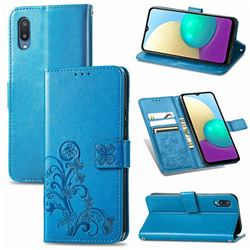Embossing Imprint Four-Leaf Clover Leather Wallet Case for Samsung Galaxy A02 - Blue