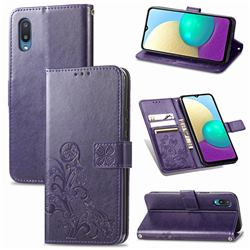 Embossing Imprint Four-Leaf Clover Leather Wallet Case for Samsung Galaxy A02 - Purple