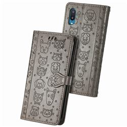 Embossing Dog Paw Kitten and Puppy Leather Wallet Case for Samsung Galaxy A02 - Gray