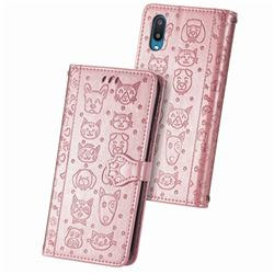 Embossing Dog Paw Kitten and Puppy Leather Wallet Case for Samsung Galaxy A02 - Rose Gold