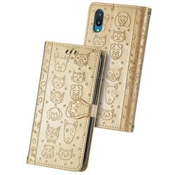 Embossing Dog Paw Kitten and Puppy Leather Wallet Case for Samsung Galaxy A02 - Champagne Gold