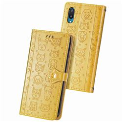 Embossing Dog Paw Kitten and Puppy Leather Wallet Case for Samsung Galaxy A02 - Yellow