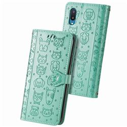 Embossing Dog Paw Kitten and Puppy Leather Wallet Case for Samsung Galaxy A02 - Green