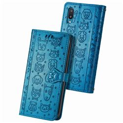 Embossing Dog Paw Kitten and Puppy Leather Wallet Case for Samsung Galaxy A02 - Blue