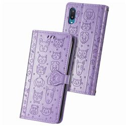 Embossing Dog Paw Kitten and Puppy Leather Wallet Case for Samsung Galaxy A02 - Purple