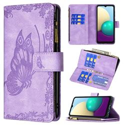 Binfen Color Imprint Vivid Butterfly Buckle Zipper Multi-function Leather Phone Wallet for Samsung Galaxy A02 - Purple