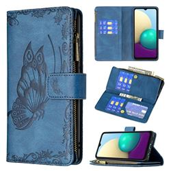 Binfen Color Imprint Vivid Butterfly Buckle Zipper Multi-function Leather Phone Wallet for Samsung Galaxy A02 - Blue