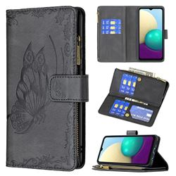 Binfen Color Imprint Vivid Butterfly Buckle Zipper Multi-function Leather Phone Wallet for Samsung Galaxy A02 - Black