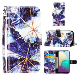 Starry Blue Stitching Color Marble Leather Wallet Case for Samsung Galaxy A02