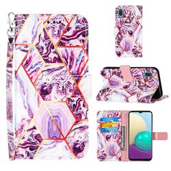 Dream Purple Stitching Color Marble Leather Wallet Case for Samsung Galaxy A02