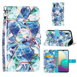 Green and Blue Stitching Color Marble Leather Wallet Case for Samsung Galaxy A02