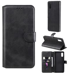 Retro Calf Matte Leather Wallet Phone Case for Samsung Galaxy A02 - Black
