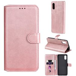 Retro Calf Matte Leather Wallet Phone Case for Samsung Galaxy A02 - Pink