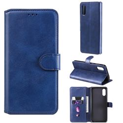 Retro Calf Matte Leather Wallet Phone Case for Samsung Galaxy A02 - Blue