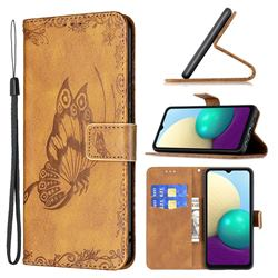 Binfen Color Imprint Vivid Butterfly Leather Wallet Case for Samsung Galaxy A02 - Brown