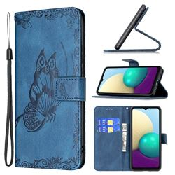Binfen Color Imprint Vivid Butterfly Leather Wallet Case for Samsung Galaxy A02 - Blue