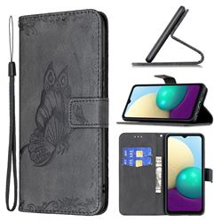 Binfen Color Imprint Vivid Butterfly Leather Wallet Case for Samsung Galaxy A02 - Black