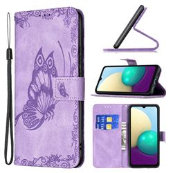 Binfen Color Imprint Vivid Butterfly Leather Wallet Case for Samsung Galaxy A02 - Purple