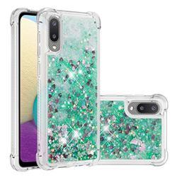 Dynamic Liquid Glitter Sand Quicksand TPU Case for Samsung Galaxy A02 - Green Love Heart