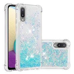 Dynamic Liquid Glitter Sand Quicksand TPU Case for Samsung Galaxy A02 - Silver Blue Star