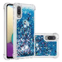 Dynamic Liquid Glitter Sand Quicksand TPU Case for Samsung Galaxy A02 - Blue Love Heart