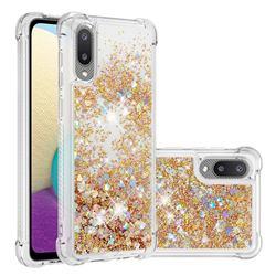 Dynamic Liquid Glitter Sand Quicksand TPU Case for Samsung Galaxy A02 - Rose Gold Love Heart