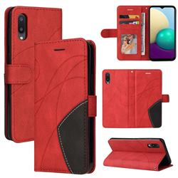 Luxury Two-color Stitching Leather Wallet Case Cover for Samsung Galaxy A02 - Red