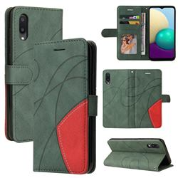 Luxury Two-color Stitching Leather Wallet Case Cover for Samsung Galaxy A02 - Green