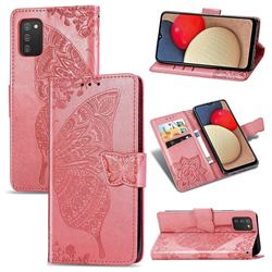 Embossing Mandala Flower Butterfly Leather Wallet Case for Samsung Galaxy A02s - Pink