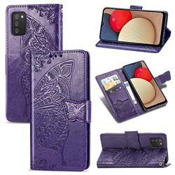 Embossing Mandala Flower Butterfly Leather Wallet Case for Samsung Galaxy A02s - Dark Purple