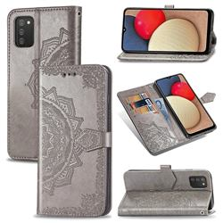 Embossing Imprint Mandala Flower Leather Wallet Case for Samsung Galaxy A02s - Gray