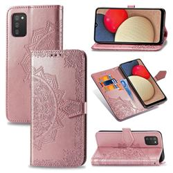 Embossing Imprint Mandala Flower Leather Wallet Case for Samsung Galaxy A02s - Rose Gold
