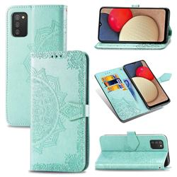 Embossing Imprint Mandala Flower Leather Wallet Case for Samsung Galaxy A02s - Green