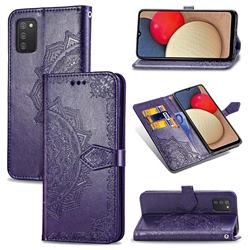 Embossing Imprint Mandala Flower Leather Wallet Case for Samsung Galaxy A02s - Purple