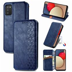 Ultra Slim Fashion Business Card Magnetic Automatic Suction Leather Flip Cover for Samsung Galaxy A02s - Dark Blue