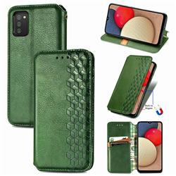 Ultra Slim Fashion Business Card Magnetic Automatic Suction Leather Flip Cover for Samsung Galaxy A02s - Green