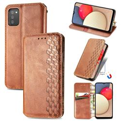 Ultra Slim Fashion Business Card Magnetic Automatic Suction Leather Flip Cover for Samsung Galaxy A02s - Brown