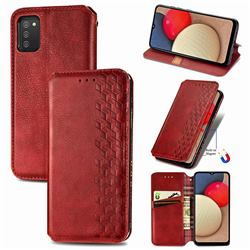Ultra Slim Fashion Business Card Magnetic Automatic Suction Leather Flip Cover for Samsung Galaxy A02s - Red
