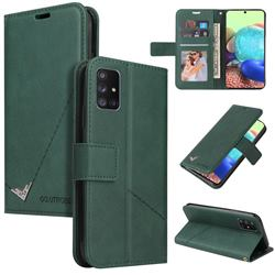GQ.UTROBE Right Angle Silver Pendant Leather Wallet Phone Case for Samsung Galaxy A02s - Green