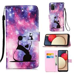 Panda Baby Matte Leather Wallet Phone Case for Samsung Galaxy A02s