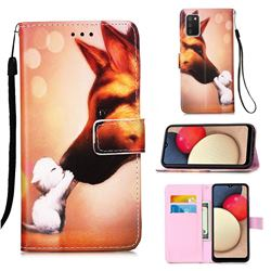 Hound Kiss Matte Leather Wallet Phone Case for Samsung Galaxy A02s