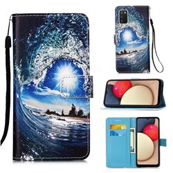 Waves and Sun Matte Leather Wallet Phone Case for Samsung Galaxy A02s